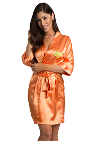 Personalized Embroidered Monogram Orange Robe