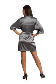 Rhinestone Bridesmaid Grey Satin Robe
