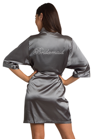 Rhinestone Bridesmaid Grey Robe