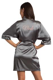 custom grey robe embroidered