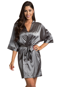 Personalized Embroidered Monogram Grey Robe