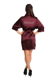 Silver Glitter Burgundy Bridesmaid Satin Robe
