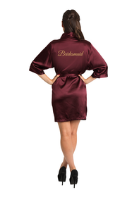 Gold Glitter Burgundy Bridesmaid Satin Robe