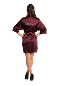 Silver Thread Embroidered Burgundy Bridesmaid Robe