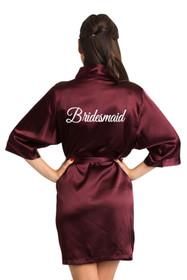 White Embroidered Burgundy Bridesmaid Robe