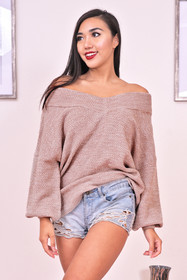 So Over You V-Neck Sweater in Ash Mocha
