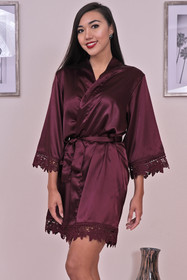 Zynotti burgundy Satin Robe