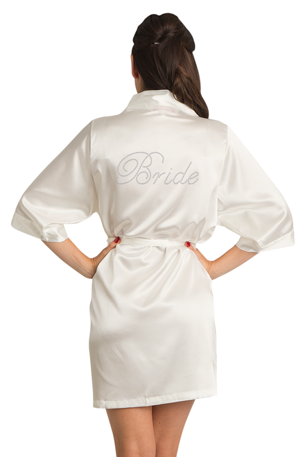 Zynotti Rhinestone Bride Ivory Beige Off-white Satin Robe