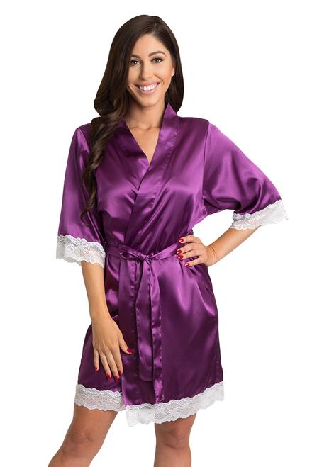 Zynotti Plum Lace Trimmed Satin Kimono robe with white lace