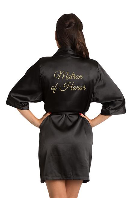 Zynotti Custom Embroidered Matron of Honor Satin Robe