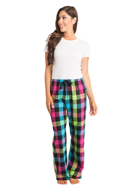 917046bd7b3 zynotti Women's Custom Print neon Flannel plaid Pajama lounge sleepwear  Pants