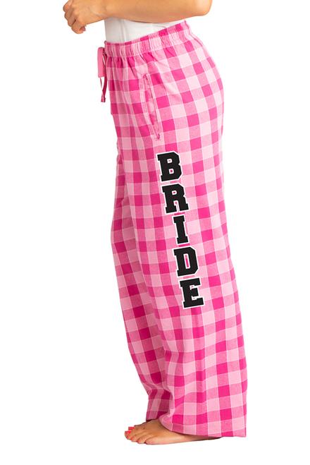 604fcb00cf9 Zynotti Bride Print Pink Plaid Flannel Pajama Lounge Wear Pants