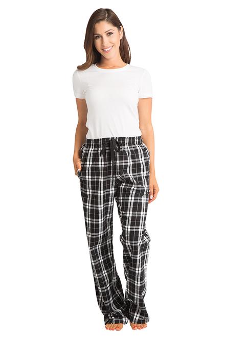 Zynotti Bride Print Black and White Plaid Flannel Pajama Lounge Wear Pants