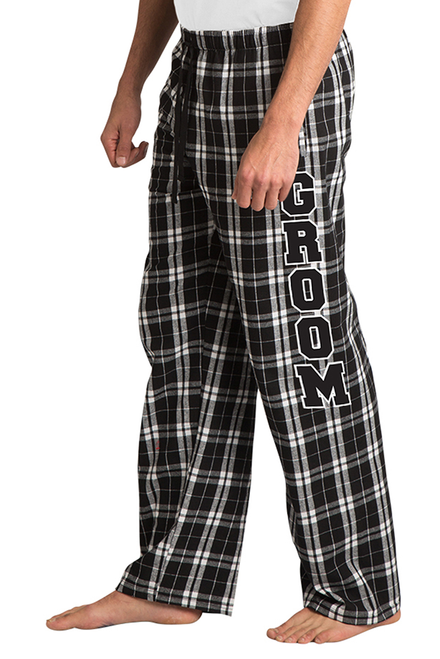 9746aa0401b Zynotti Groom Print Black and White Plaid Flannel Pajama Lounge Wear Pants