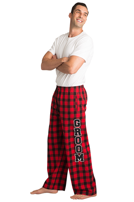7d78044bc06 Zynotti Groom Print Black and Red Plaid Flannel Pajama Lounge Wear Pants