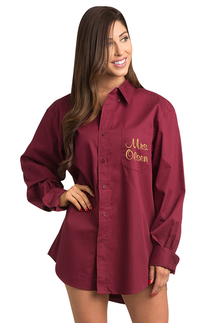 Zynotti personalized embroidered oversized burgundy oxford shirt