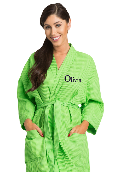 Zynotti's Personalized Embroidered Thigh Length Waffle Weave Robe