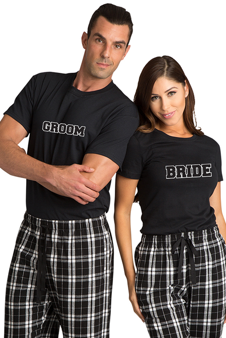 98f83889201 Zynotti Bride and Groom Couple Matching Black and White Flannel Plaid  Pajama Pants Set