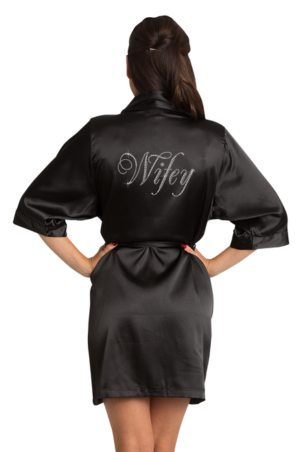 Zynotti's Rhinestone Wifey Satin Robe in Black