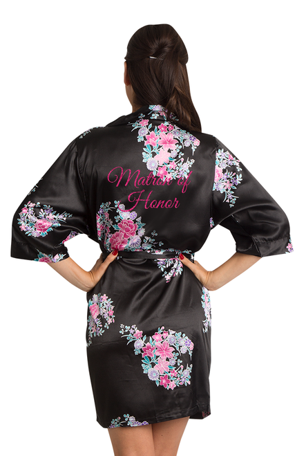 Zynotti Glitter Print Black Floral Matron of Honor Satin Robe