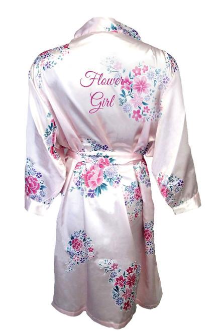 Zynotti Floral Flower Girl Satin Robe