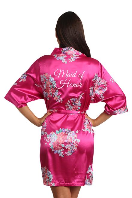 Zynotti Fuchsia Floral Maid of Honor Satin Robe