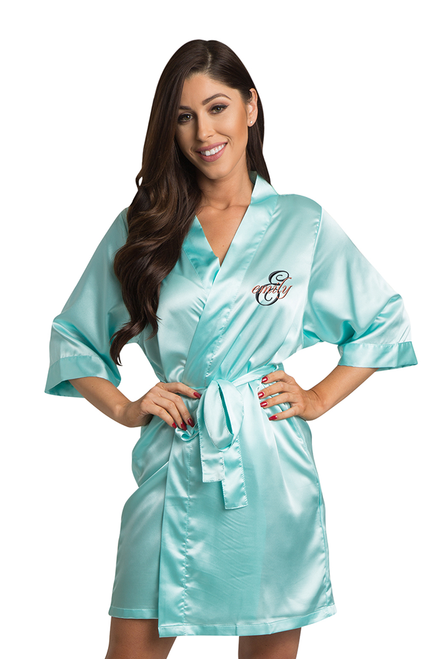 Zynotti's Personalized embroidered Overlay Name Design Robe in Aqua