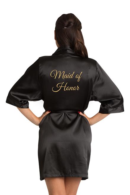 Gold Glitter Maid of Honor Satin Robe