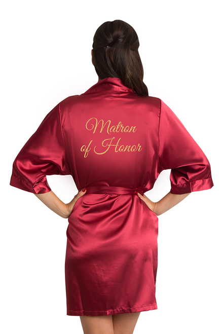 Gold Glitter Matron of Honor Satin Robe
