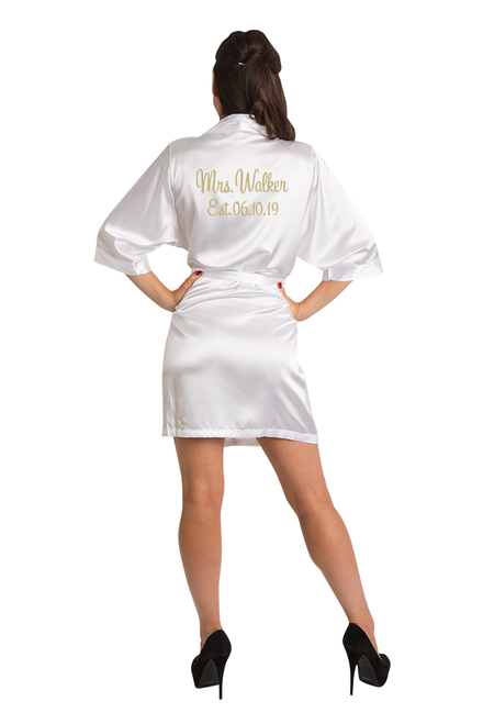 9c835f3f026 Zynotti Personalized Embroidered Mrs. Satin Robe with EST. Date