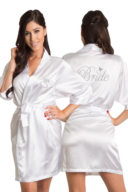 Zynotti's Rhinestone Bride Satin Kimono Robe with Diamond in White