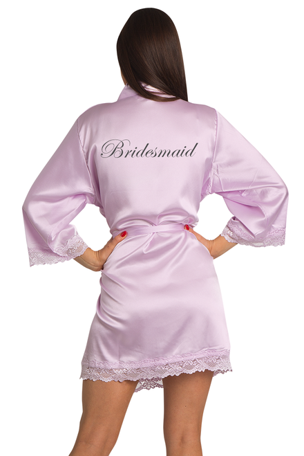 Embroidered Bridesmaid Lavender Satin Robe with Lavender Lace Trim