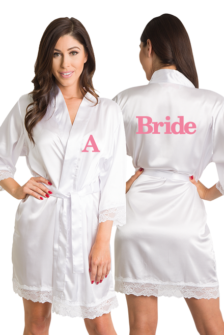Zynotti Personalized Embroidered Bride White Satin Robe with White Lace trim