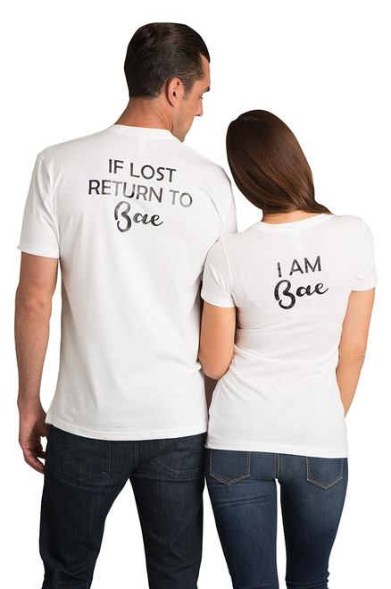 66c67f7d040 Zynotti I am Bae Return to Bae Matching Couple Honeymoon Black Tee Shirt Top