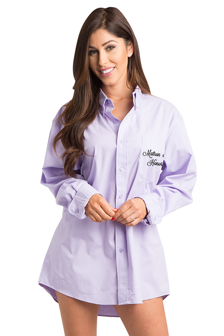 Zynotti embroidered matron of honor oversized lavender oxford button down long sleeve shirt