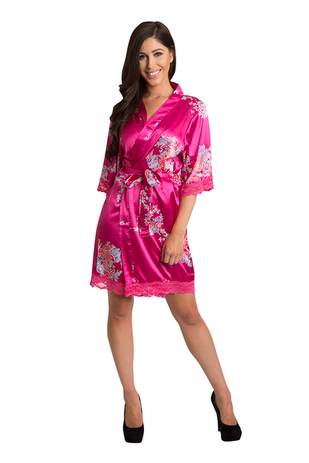 Zynotti fuchsia floral lace trimmed satin robe 9898f5426