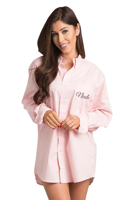 Zynotti personalized custom embroidered oversized pink oxford shirt