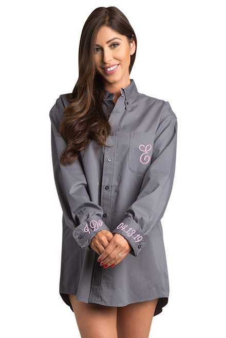 Zynotti personalized embroidered oversized gray oxford long sleeve shirt