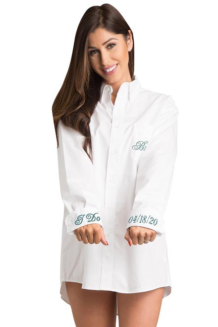 Zynotti personalized custom embroidered oversized white oxford long sleeve shirt