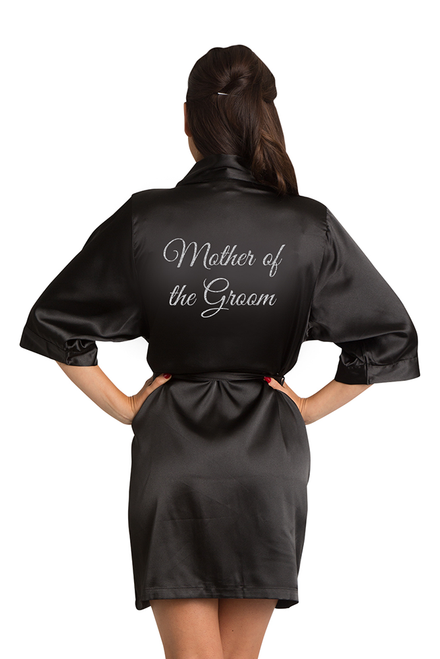 Silver Glitter Mother of the Groom Satin Robe