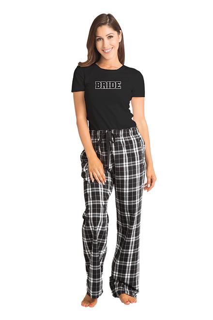 6a9188290e9 Zynotti bride matching black and white flannel plaid pajama lounge  sleepwear pants with bride black crewneck