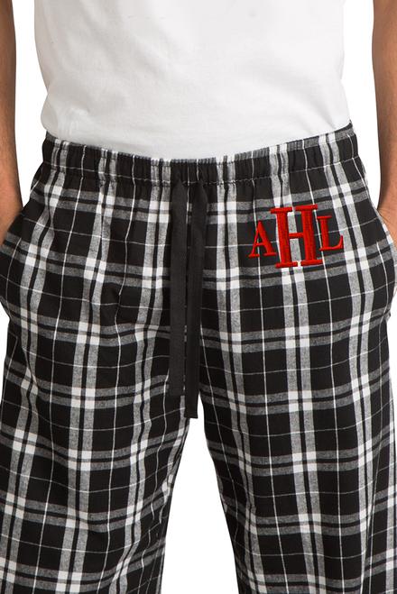Zynotti men's personalized custom embroidered monogram black and white plaid flannel pajama lounge sleepwear pants