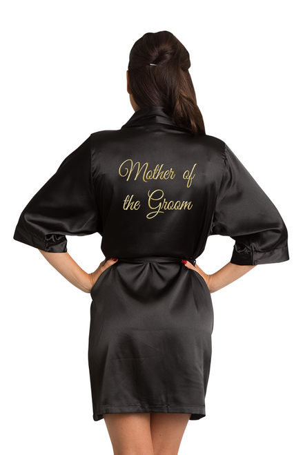 Gold Thread Embroidered Mother of the Groom Satin Robe