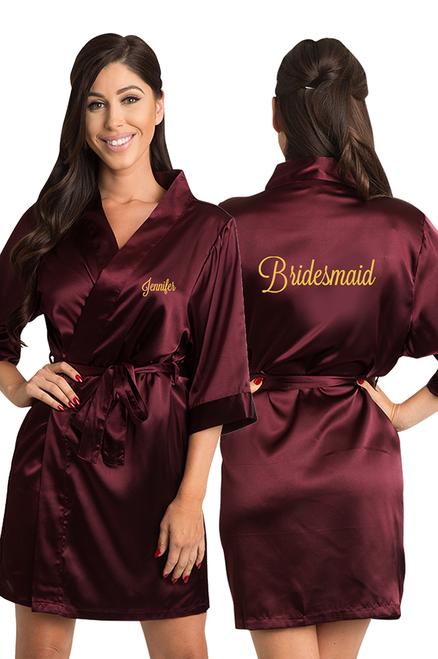 Personalized Embroidered Bridesmaid Satin Kimono Robe