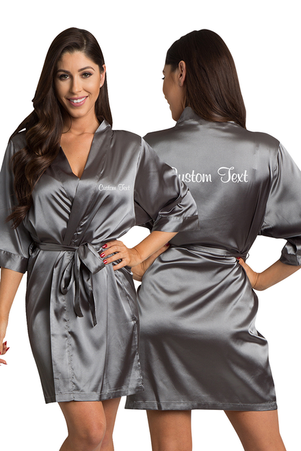 Zynotti's Personalized Embroidered Front and Back Satin Robe in Charcoal