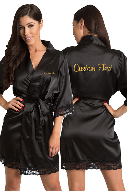 Zynotti's Personalized Embroidered Front and Back Satin Robe in Black