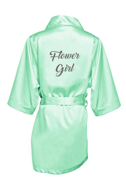 Zynotti's Flower Girl Robe with Glitter Print - Back to Black