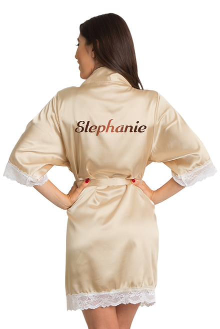 Zynotti's Personalized Metallic Print Satin Lace Robe