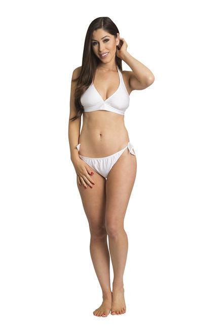 Zynotti halter top sash tie white bikini set. Perfect vacation white swimwear. Light, comfortable, and durable white swimsuit.