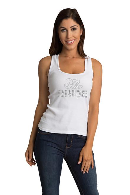 ZYNOTTI Big Bling Rhinestone Bride Lace Tank Top